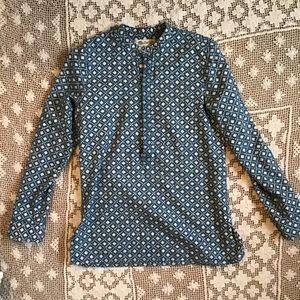 MADEWELL Blue and Cream Printed Long-sleeve Tunic